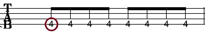 tab譜(フレット説明)
