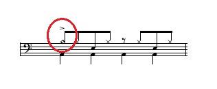 クラッシュシンバルの記号